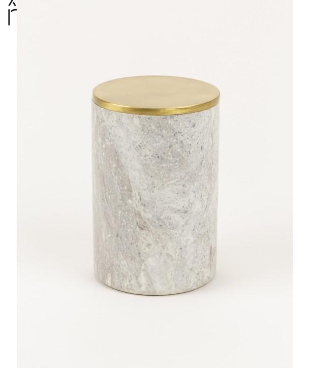 Grande boîte cylindrique étroite en pierre et couvercle serti laiton cuivré