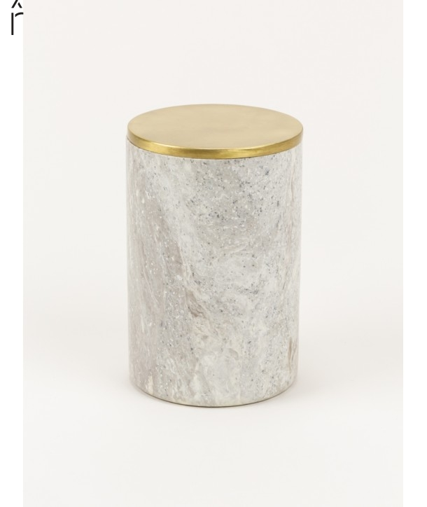 Large narrow cylindrical box in stone with coppery brass coated lid