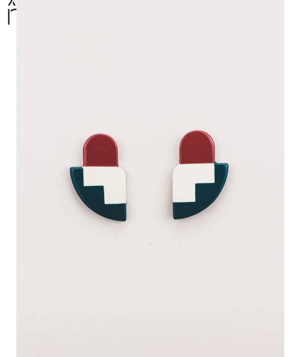 C2 earrings in horn and tricolor lacquer