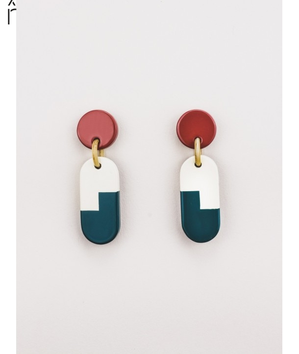 C3 earrings in horn and tricolor lacquer