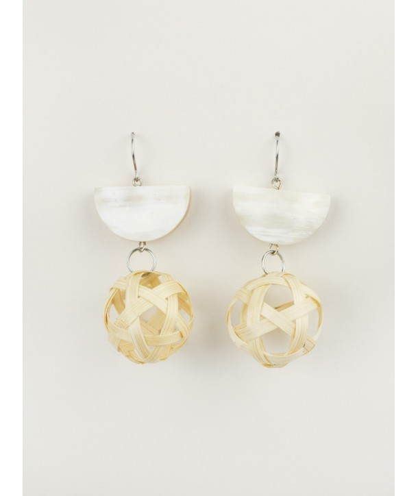 Rattan bead earrings and blond horn semi-circles