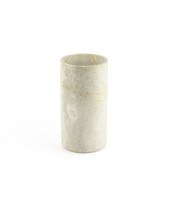 Long narrow cylindrical vase in natural stone