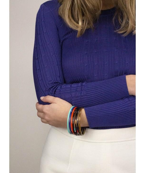 Mint, indigo, orange lacquered seven-band bracelets