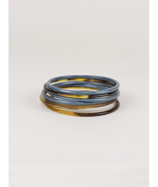 Bracelets semainier laqués gris-bleu