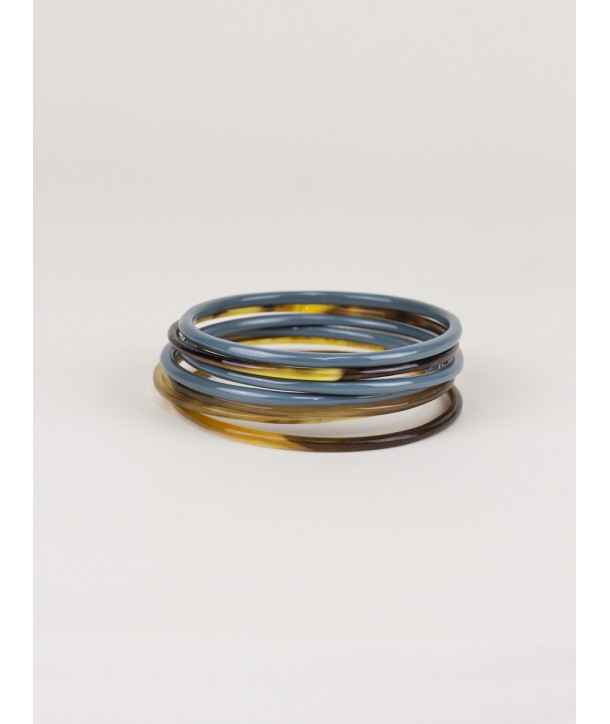 Gray-blue lacquered seven-band bracelets