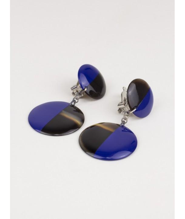 Boucle d'oreille clip double rond en sabot et laque bleu indigo