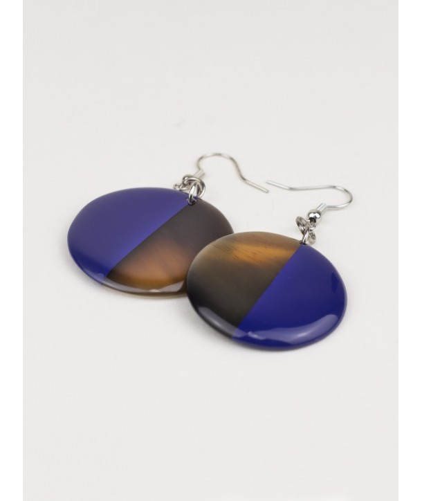 Full disc indigo blue lacquered earrings