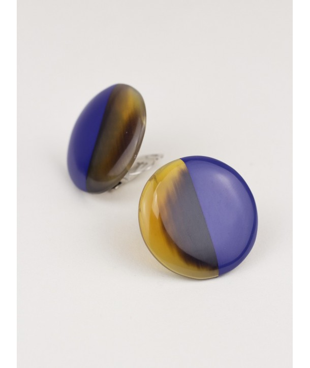 Disc earrings with ear-clip and lavender lacquer