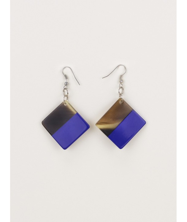 Indigo blue lacquered square earrings