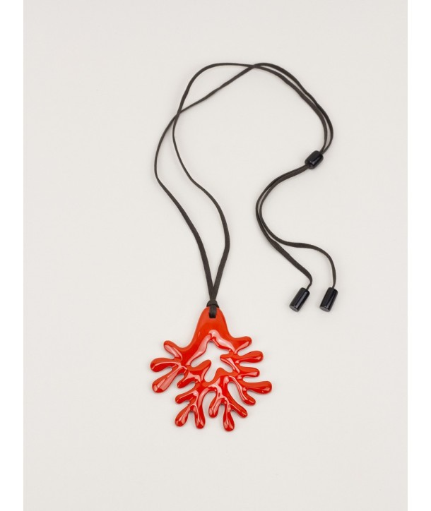 Large orange lacquered coral pendant