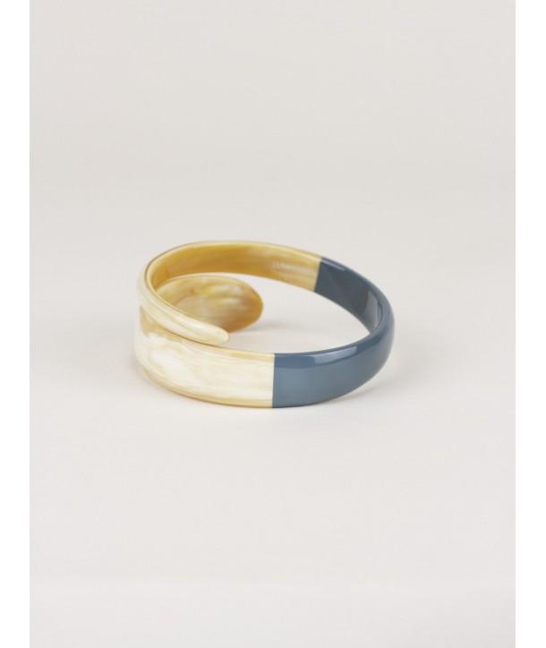 Bracelet serpent laqué gris-bleu