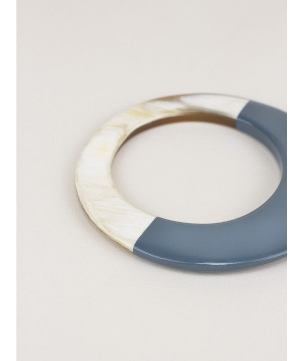 Broad gray-blue lacquered elliptical bracelet