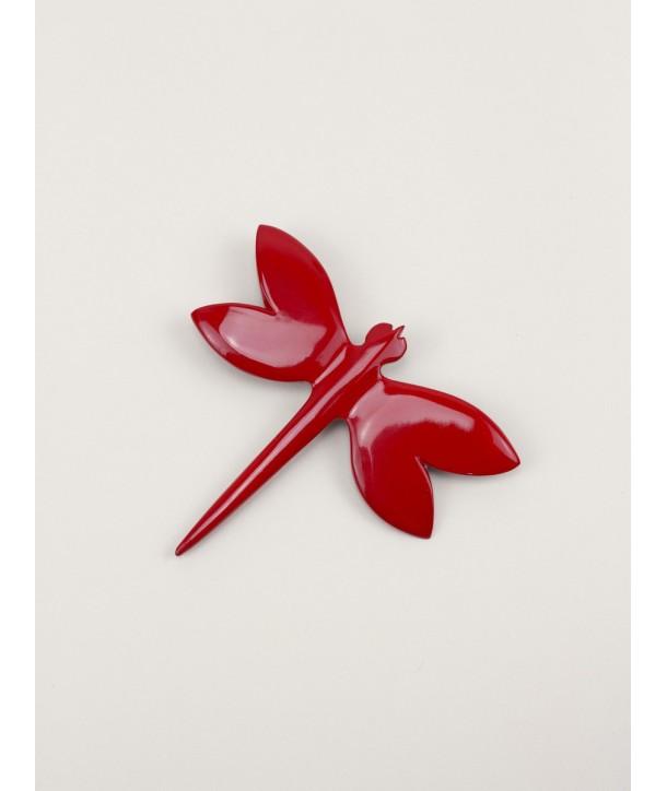 Broche libellule laquée rouge