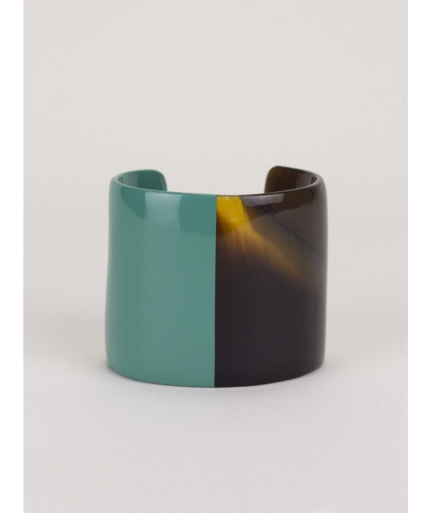 Emerald green lacquered natural horn cuff