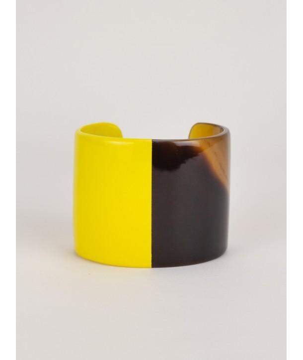 Manchette en corne naturelle laquée jaune