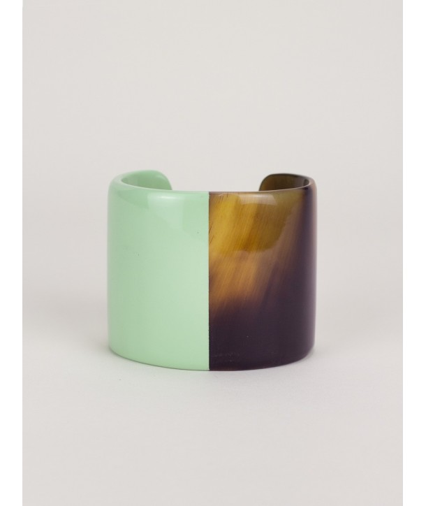 Mint green lacquered natural horn cuff