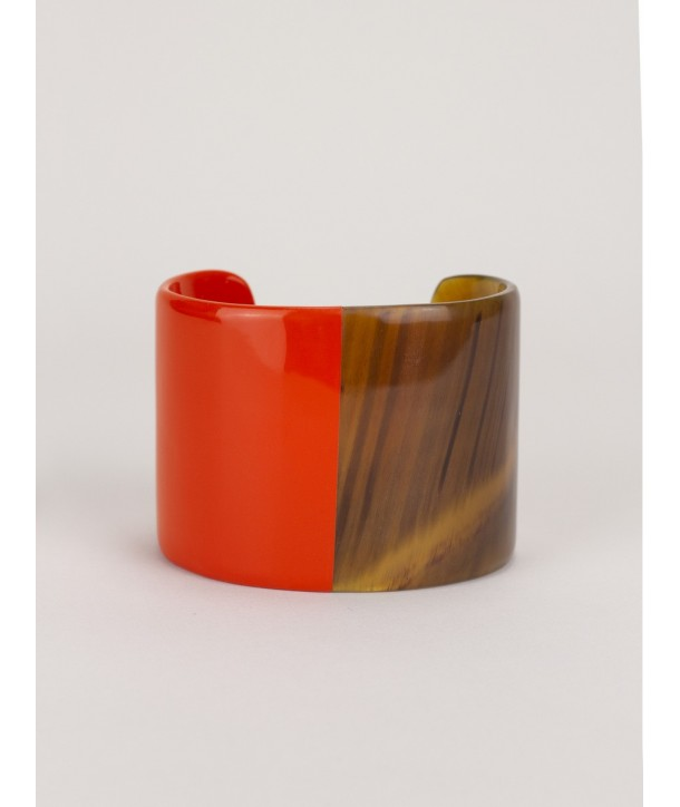 Orange lacquered natural horn cuff