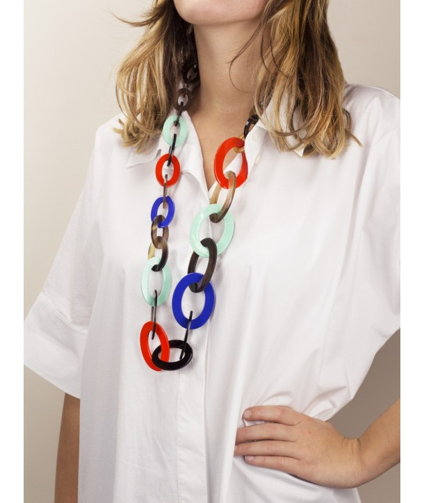 3-size flat oval rings long necklace with turquoise, indigo, orange lacquer