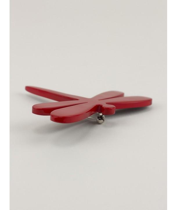Broche libellule en corne laquée rouge