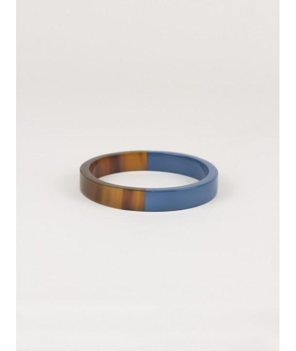 Gray-blue lacquered flat bangle bracelet