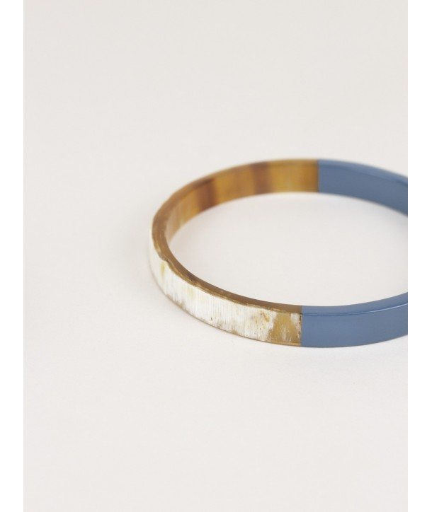 Thin blue-gray lacquered flat bangle bracelet