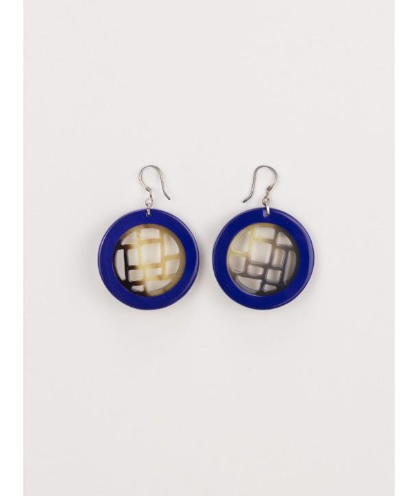 Boucles d'oreilles damier cerclé laqué bleu indigo