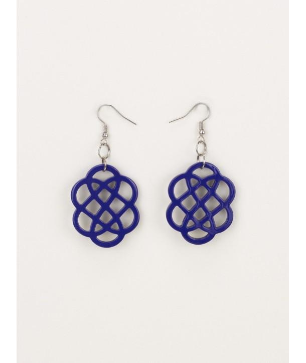 Boucles d'oreilles fleur laquées bleu indigo