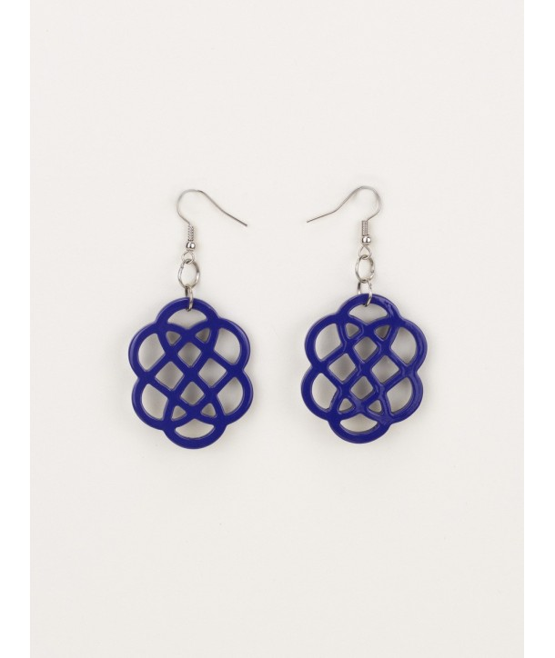 Indigo blue lacquered flower-shaped earrings