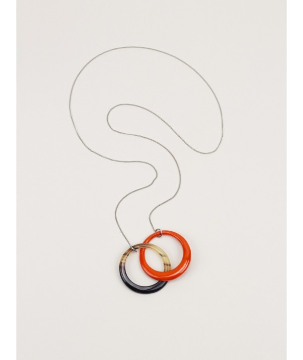 2 intertwined orange rings pendant with a chain