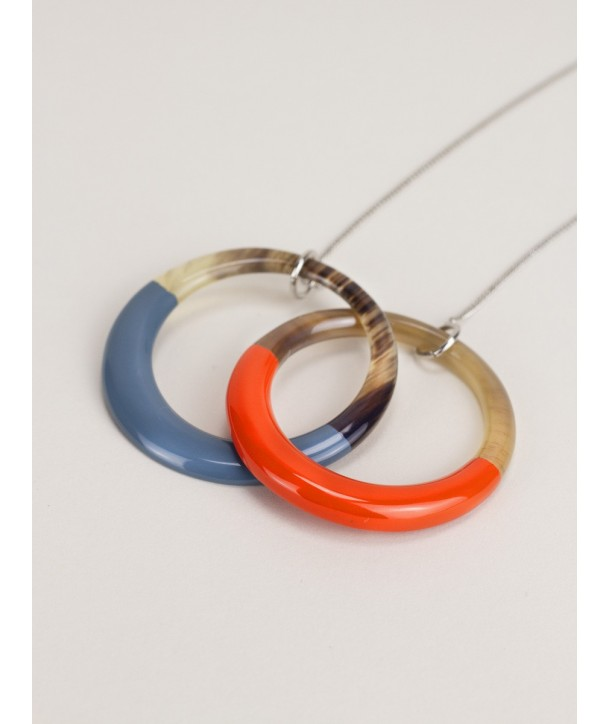 2 intertwined orange and gray blue rings pendant with a chain