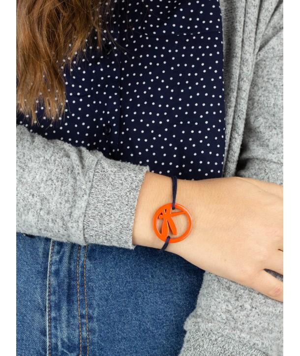Bracelet fil libellule laquée orange