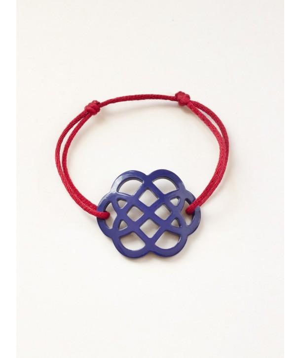 Indigo blue lacquered flower-shape wire bracelet