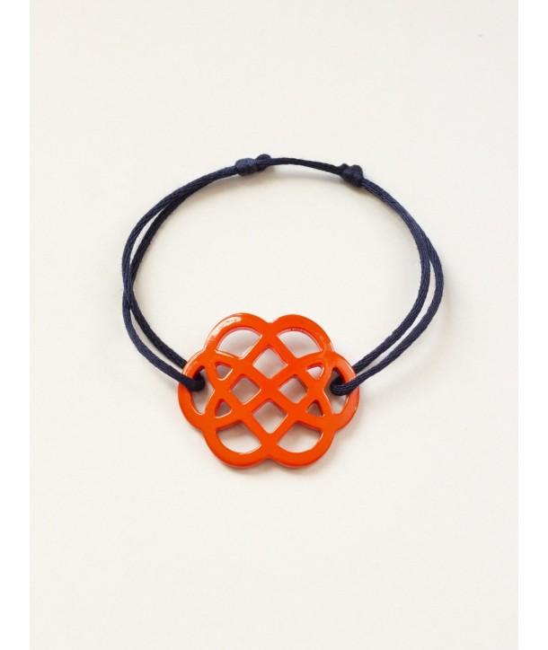 Bracelet fil fleur laquée orange