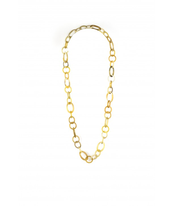 Thin oval rings long necklace in blond horn