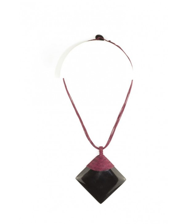 Plain black horn rhombus pendant sheathed in burgundy cotton