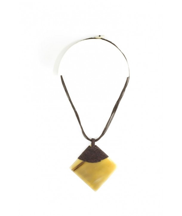 Blond horn rhombus pendant sheathed in brown cotton