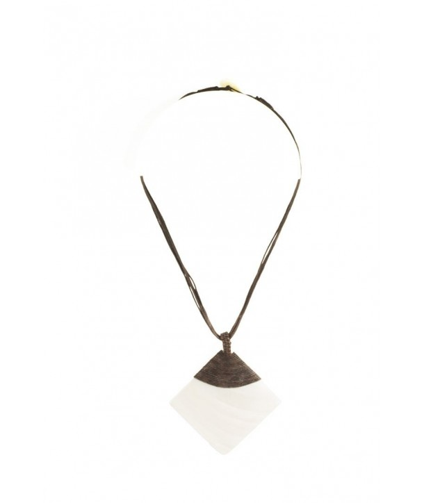 White moter-of-pearl rhombus pendant sheathed in brown cotton