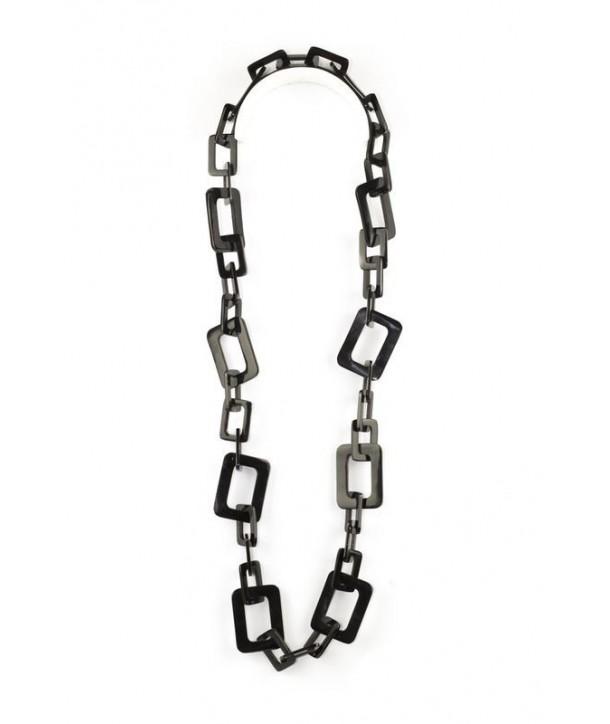 Sautoir petits et grands anneaux rectangulaires en corne noire unie