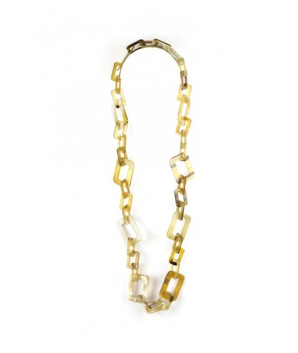 Sautoir petits et grands anneaux rectangulaires en corne blonde