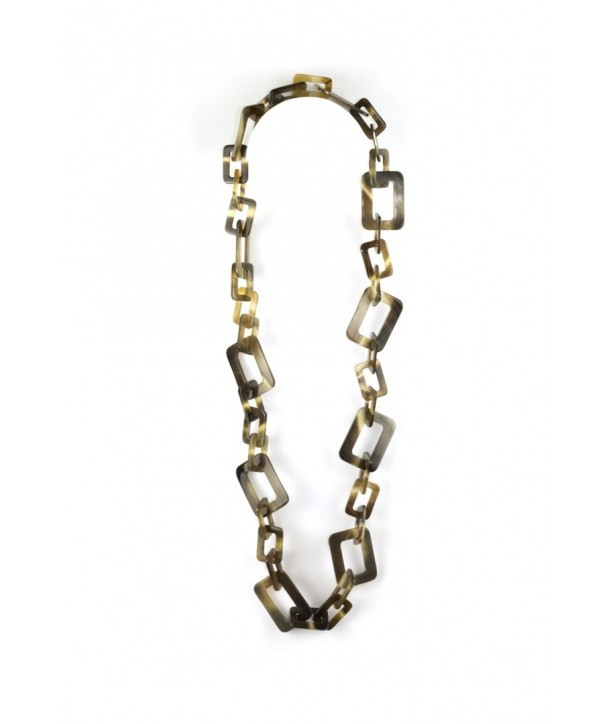 Small and big rectangular rings long necklace in hoof