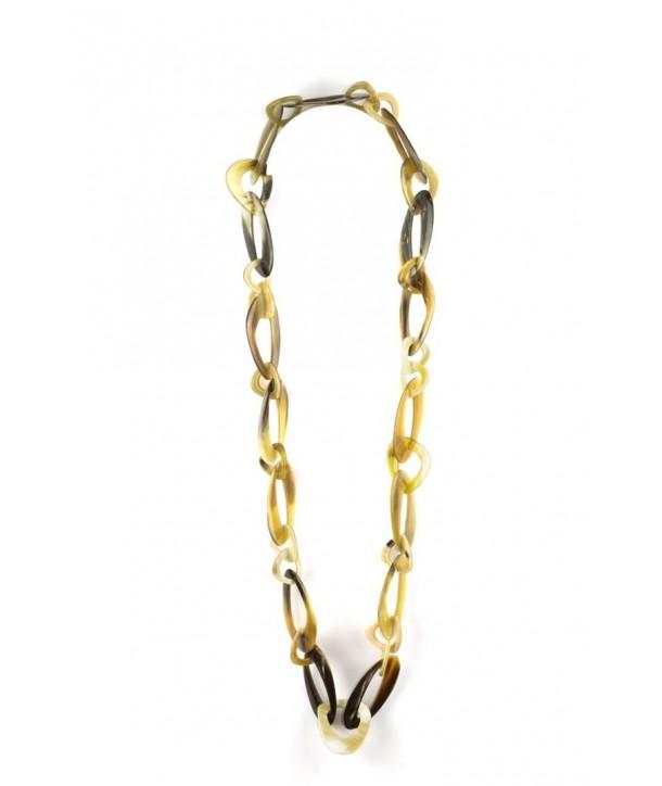 Grand sautoir anneaux ovales desaxés en corne blonde