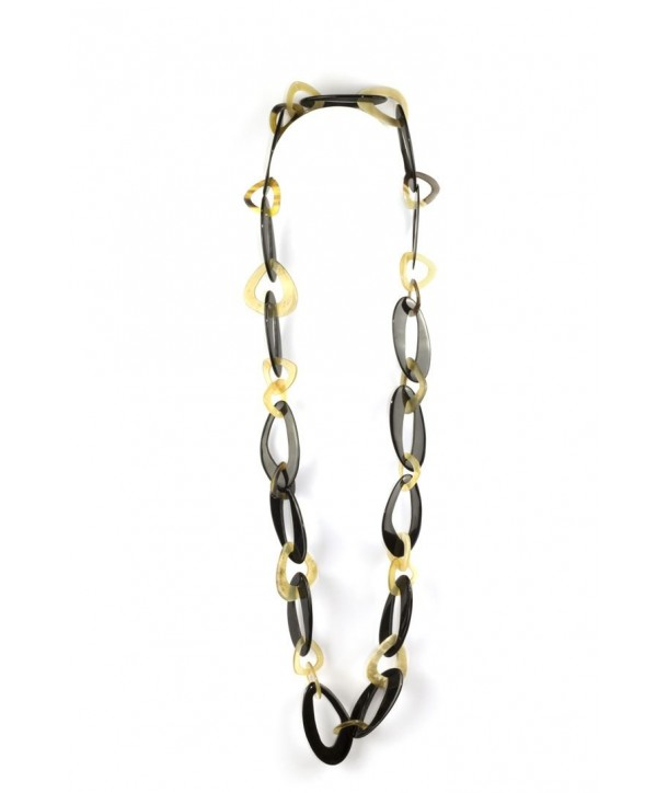 Off-centered oval rings long necklace in blond and black horn