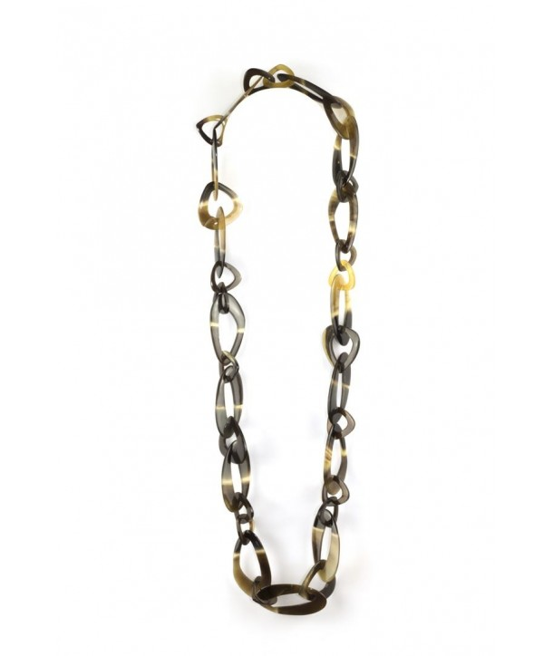 Off-centered oval rings long necklace in hoof