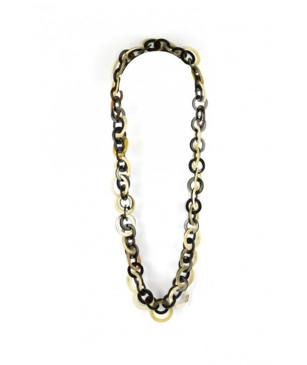 Sautoir doubles anneaux blancs et noirs en corne blonde et noire