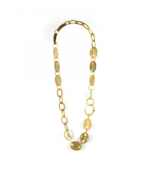 Coffee beans and oval rings long necklace in blond horn