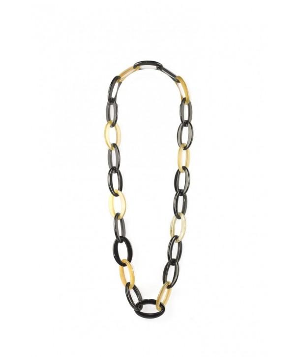 Sautoir anneaux ovales épais en corne blonde et noire