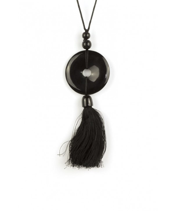 Perforated disc and charm pendant in black horn