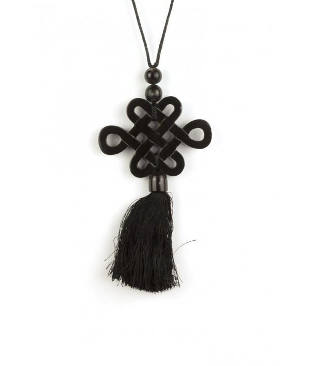 Tibetan long-life symbol and charm pendant in black horn