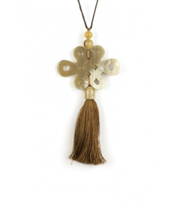 Tibetan long-life symbol and charm pendant in blond horn