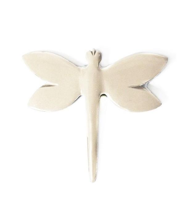 Broche libellule laquée ivoire
